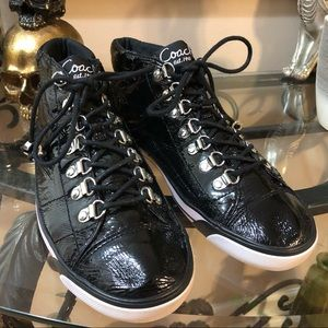 Coach Gwendolyn crinkled patent leather mid-tops